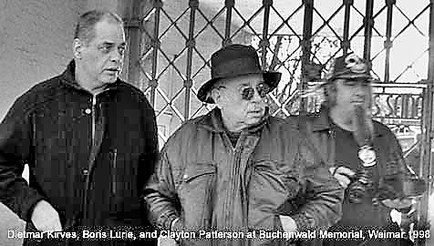 Dietmar Kirves, Boris Lurie, and Clayton Patterson at Buchenwald Memorial, Weimar 1998